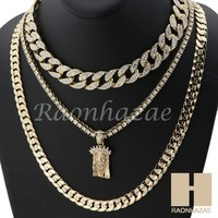 """14K GOLD PT JESUS FACE ICED OUT MIAMI CUBAN 16""""~30"""" CHOKER TENNIS CHAIN S27"""