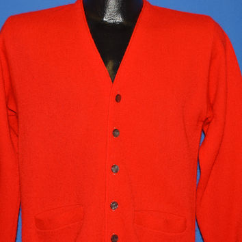 60s Skyline Red Acrylic Cardigan Sweater Small