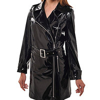 Peter Nygard Faux-Leather Trench Coat - Black