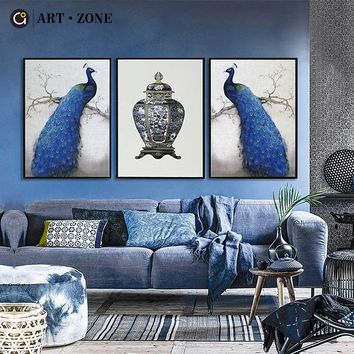 ART ZONE New Chinese Paintings Animal Blue Peacock A4 Canvas Painting Art Print Poster Wall Art Paintings Home Living Room Decor
