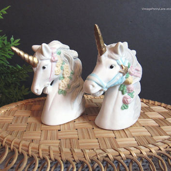 Vintage Salt and Pepper Shakers, Bisque Ceramic Porcelain Unicorns