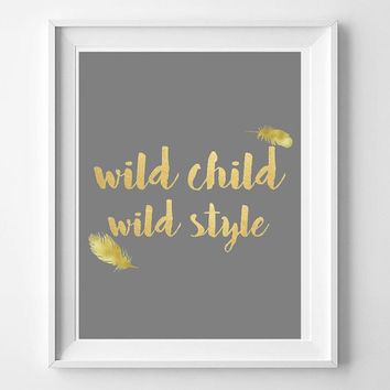 Wild Child nursery art print, printable nursery art, 8x10, boho art print