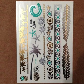 Metallic Waterproof Temporary Tattoo Gold Silver