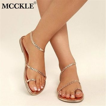 SHOES SANDALS Thong Summer Women Flip Flops Weaving Casual Beach Flat With Shoes Rome Style Female Sandal Low Heels