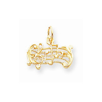 10k Yellow Gold Polished Musical Scale Pendant