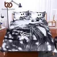 BeddingOutlet Black and White Bedding Set Nightmare Before Christmas Cool Printed Bed Linen Soft Duvet Cover with Pillow Case