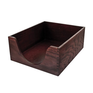 Carver Double Deep Wood Desk Tray Legal Size 16 x 11 x 5.5 Inches Mahogany Fi...
