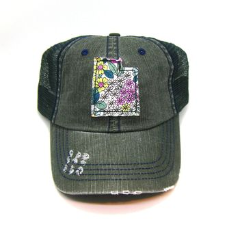 Utah Trucker Hat - Distressed - Floral Fabric State Cutout