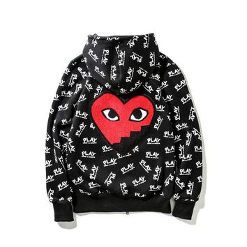 """Comme Des Garcons Play"" Fashion Women Men Letter Print Zipper Hoodies Couple Hats Jacket Coat I"