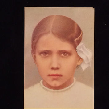 Vintage Art Holy Card - Jacinto Marto (rare), Lady of Fatima, apparition, Blessed Virgin Mary, miracle
