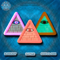 EyeGloArts blacklight polymer clay millefiore GLOW in the dark jewelry Peach Pink Illuminati all seeing eye pyramid pendant