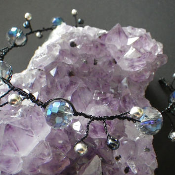 Wicked Hair Vine- Black- Clear Blue Glass- Silver- Gothic- Wedding- Halloween- Witch- Tiara- Crown- Wire Wrapped- Fashion Hair Accessory