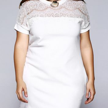 Plus Size Brief Lace Patchwork Baggy Dress