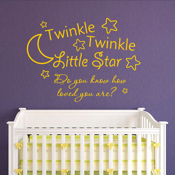 Twinkle Twinkle Little Star Do You Know How Loved You Are Wall Decal Quote Vinyl Sayings Bedroom Nursery Baby Kids Wall Art Home Decor Q165