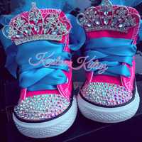 Hot pink converse, Princess first birthday shoes Neon pink Swarovski Crystal Embellished Converse , first birthday outfit ,
