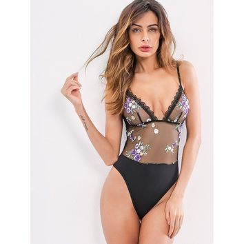 Embroidered Flower Mesh Teddy