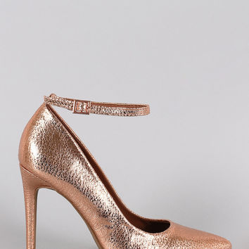 Dollhouse Cracked Metallic Pointy Toe Ankle Strap Stiletto Pump