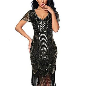 1920s Gatsby Flapper Dresses Sleeves Sequin Art Deco Cocktail Dress