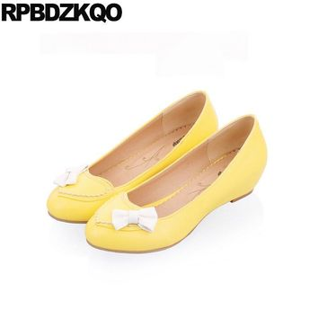 Women Flats Female Kawaii 2017 Shoes With Little Cute Bowtie Yellow Bow Ladies Slip On