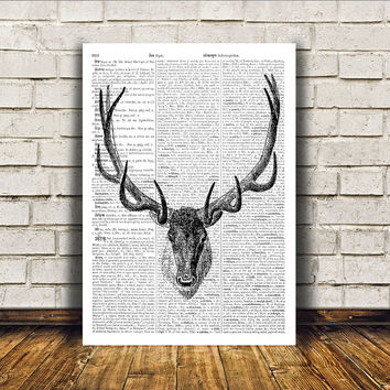 Wall decor Stag poster Dictionary print  Deer art RTA264