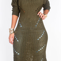 Marleigh Maxi Sweater Dress Olive