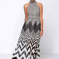 Blurred Lines Black and Ivory Striped Maxi Dress