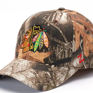 Zephyr Chicago Blackhawks Staple Realtree Camo Snapback Cap