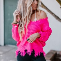 Let's Stay Together Frayed Vneck Sweater - Fucshia