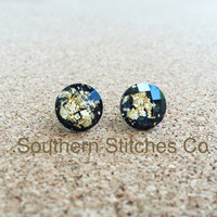 SALE Black Gold Leaf Faceted Earrings Stud Earrings 11.5 MM Boho Jewelry Bridesmaids Gifts
