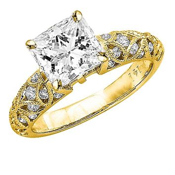 CERTIFIED | 14K Yellow Gold 0.98 CTW Princess Cut Vintage Style Channel Set Filigree Diamond Engagement Ring, G-H Color SI2-I1 Clarity Center Stone (Yellow)