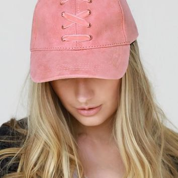 Suede and Velvet Laced Baseball Cap
