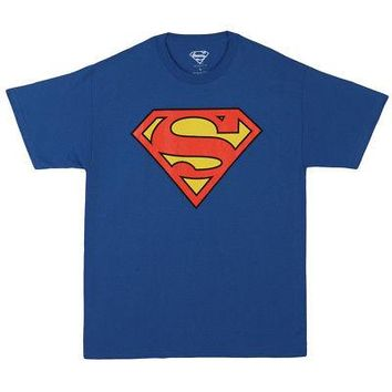 Superman Classic Logo DC Comics Licensed T-Shirt - Unisex/Men's - Royal Blue