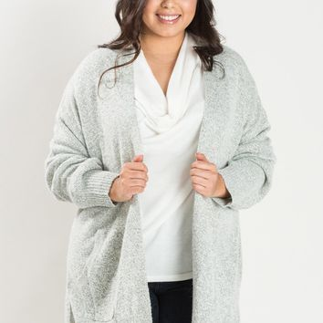 Plus Cecilia Grey Knit Cardigan