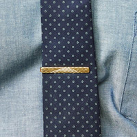Vintage Brass Etched Stripes Tie Clip