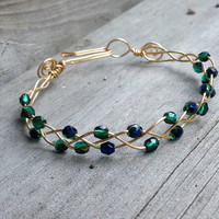 Green Glass Bead Bracelets, Emerald Bangle, Bracelet with Beads, Gold Plated Bracelet, Gold Bangle Bracelet, Bead Bracelets Women