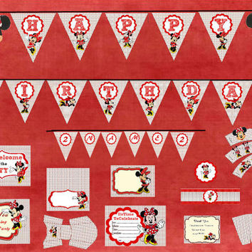 Minnie Mouse Birthday Party Pack - INSTANT DOWNLOAD - Party Decoration Printable - Invitation, Cupcake Toppers, Wrappers, Banner, Labels