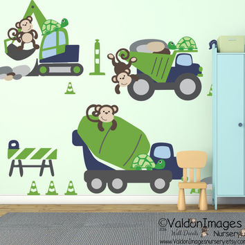 Construction monkey wall decals, nursery wall decal, nursery decor, kids room decor, boys wall decal, nursery decals, boys room decor