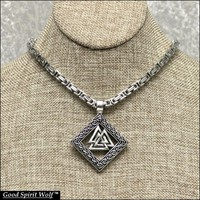 Viking Inspired Large Valknut Pendant On 5mm Premium Quality Stainless Steel Byzantine Necklace