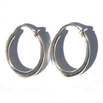"Sterling Silver Tubular 1/8"" Thick Safety Pin Catch Earring Hoops"