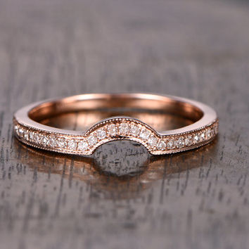 Diamond Wedding Ring,Solid 14K Rose gold,Half Eternity,Anniversary Ring,Stacking ring,Natural Gemstone,Curved matching band,milgrain edge