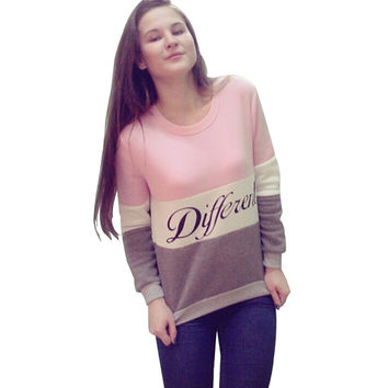 Hot Sale Alphabet Print Patchwork Long Sleeve Round-neck Pullover Hoodies [6351441604]