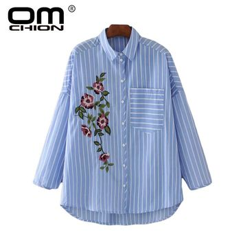New Arrival Women Blouse Long Sleeve Blue White Striped Shirts Female Floral Embroidery Summer Pocket Tops