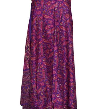Women's PREMIUM Sari Wrap Skirt Magic Wrap Skirt Purple Silk blend Reversible Dress