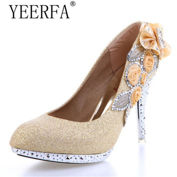 YIERFA Wedding Shoes White Beautiful Vogue lace Flowers Crystal Party Shoes 8cm,10cm High Heels Shoes Women Pumps SIZE 35-40