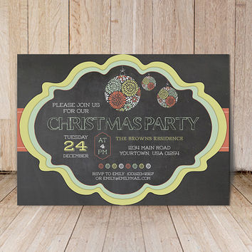 Christmas party invitation / Printable chalkboard christmas invites / Christmas dinner inviations / Digital printable Christmas invite card