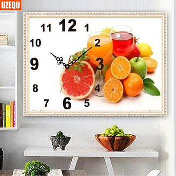 UzeQu 3D Full Diamond Embroidery Wall Clock Fruit Wineglass 5D DIY Diamond Painting Cross Stitch Diamond Mosaic Rhinestones Arts