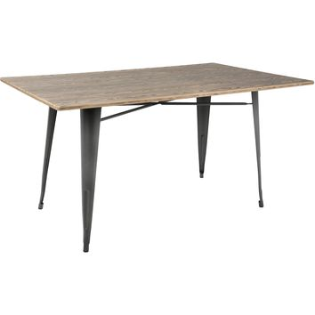 "Oregon 59"" Industrial Farmhouse Dining Table, Grey Metal & Brown Bamboo"