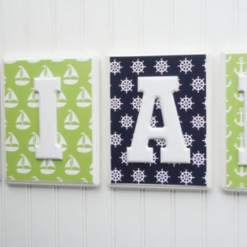 Navy Lime, Nautical Nursery, Baby Names, Nursery Name Blocks, Nursery Decor, Wall Hanging Plaques, Nautical Patterns, Nursery Wall Letters