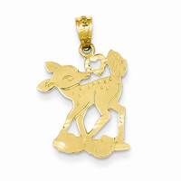 14k Yellow Gold Fawn with Heart Pendant