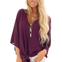 Sangria V Neck Top with Front Tie and 3/4 Flowy Sleeves